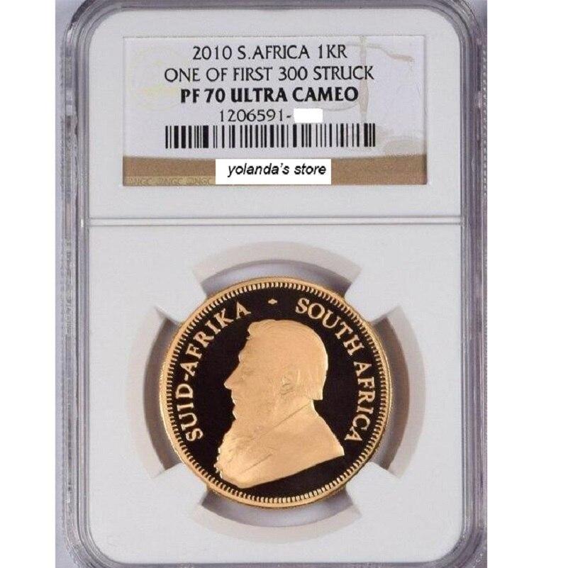 2010 вольфрама монета покрытием 1,5 г. 999 чистого золота Южная Африка Крюгерранд градуированных PF70 1 унция. В origanl случае