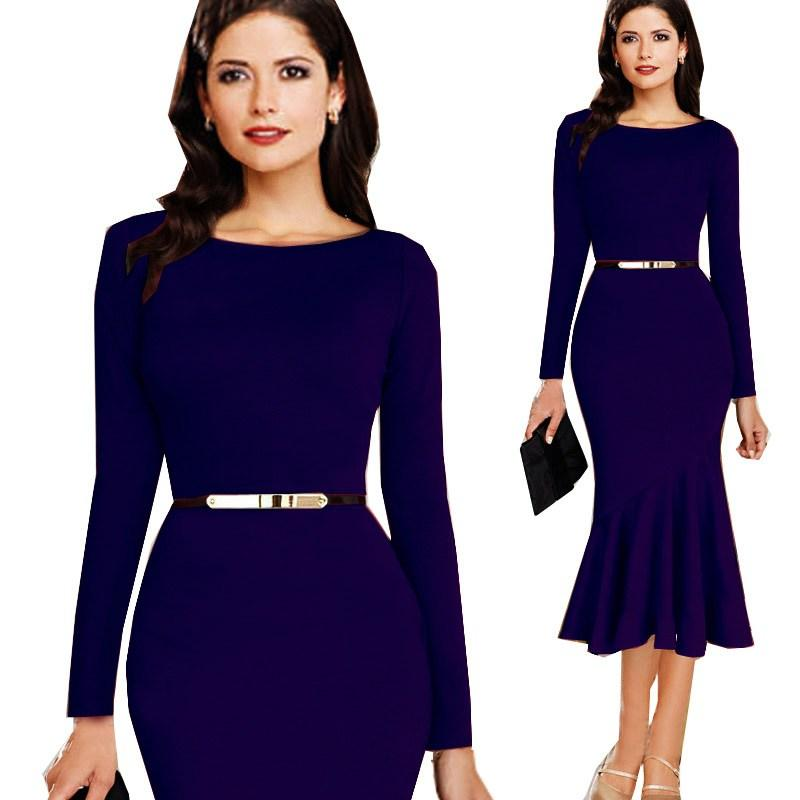 New Winter Autumn Long Sleeve 2016 Formal Dress Vintage Office Women Work Wear Bodycon Shift Wiggle Fishtail Midi In Dresses From S