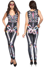 Women Fancy Cosplay Sugar Skull Adult Womens Halloween Catsuit Costume Rompers Jumpsuit Overall Bodysuit Macacao Feminino LC8854