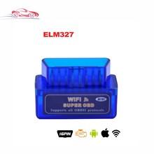 Hot Selling Mini ELM327 WiFi ELM 327 V1.5 OBDII Car Diagnostic Tool OBD2 Code Reader For IOS Android ELM WiFi blue