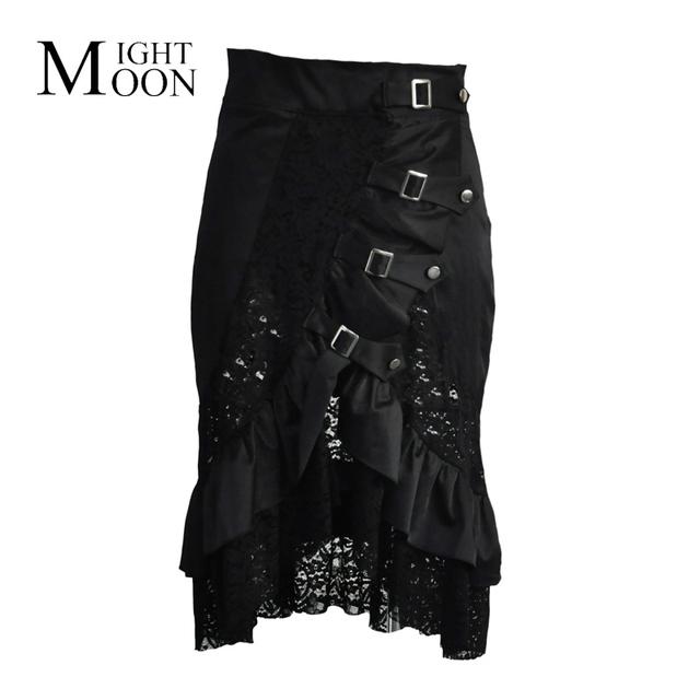 MOONIGHT Negro Satén y Encaje Floral Ruffles Steampunk Falda Más El Tamaño de Ropa Gótica Mujeres Faldas Atractivas Para Corsés Y Bustiers