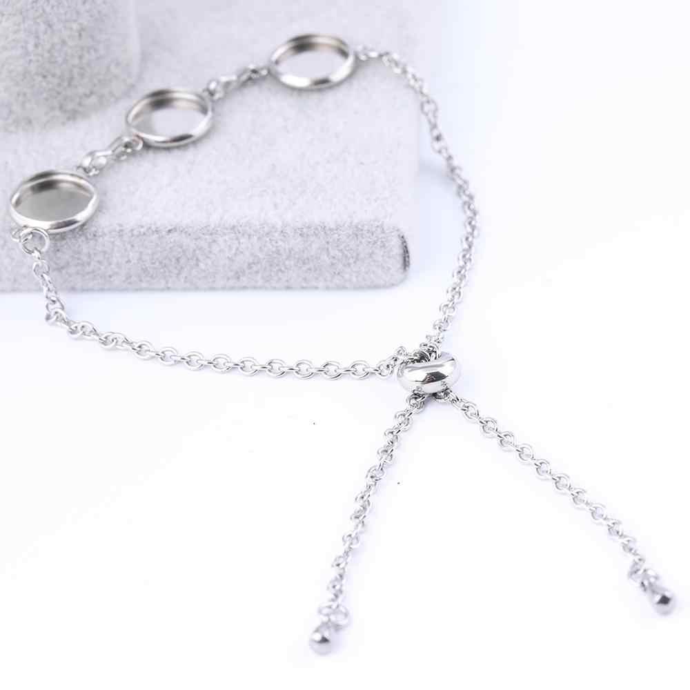 Ensemble de bracelets en acier inoxydable adapté à la fabrication de bracelets, Cabochon rond vide de 10mm 12mm, à faire soi-même, plateaux à lunette de base cameo pour la fabrication de bracelets 3 pièces/lot