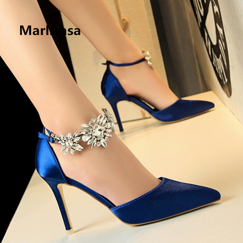 Marlisasa Women Cute High Quality Spring & Summer Crystal High Heel Pumps Lady Sexy Black Wedding Party High Heel Shoes F2752