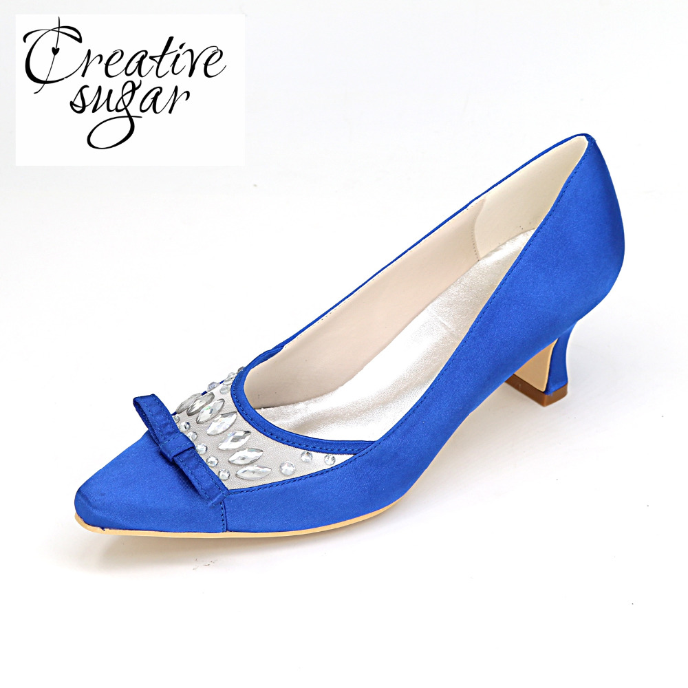 Creativesugar Comfortable satin with mesh low hoof heel bridal bridesmaid wedding party prom pointed toe shoes royal blue purple comfortable satin dress shoes hoof heel bridal wedding party prom evening pumps mid heel red royal blue champagne white ivory
