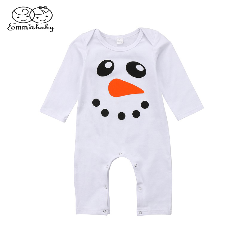 Emmababy Autumn Kids Clothing Newborn Girl Cotton Long Sleeve Romper Snowman Print Jumpsuit Outfits Clothes ...