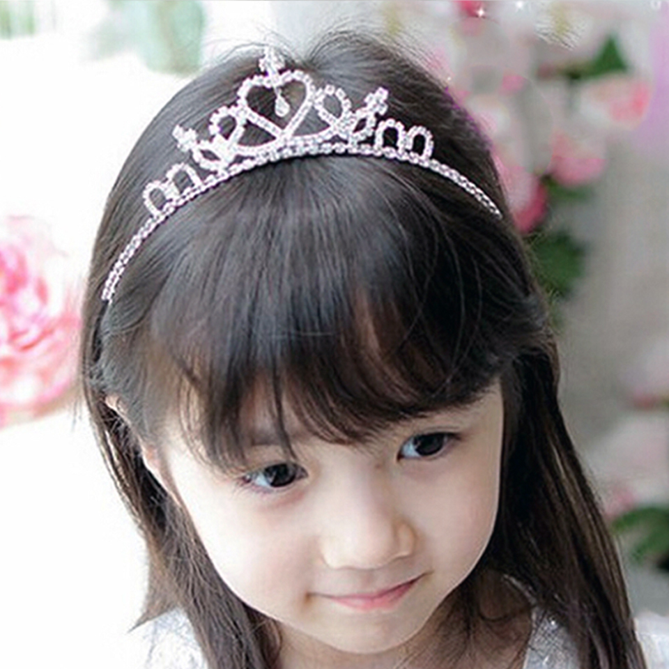Headband Tiara Prom-Crown Accessiories Valentine's-Day-Crystal Bridal Girl Princess Kid