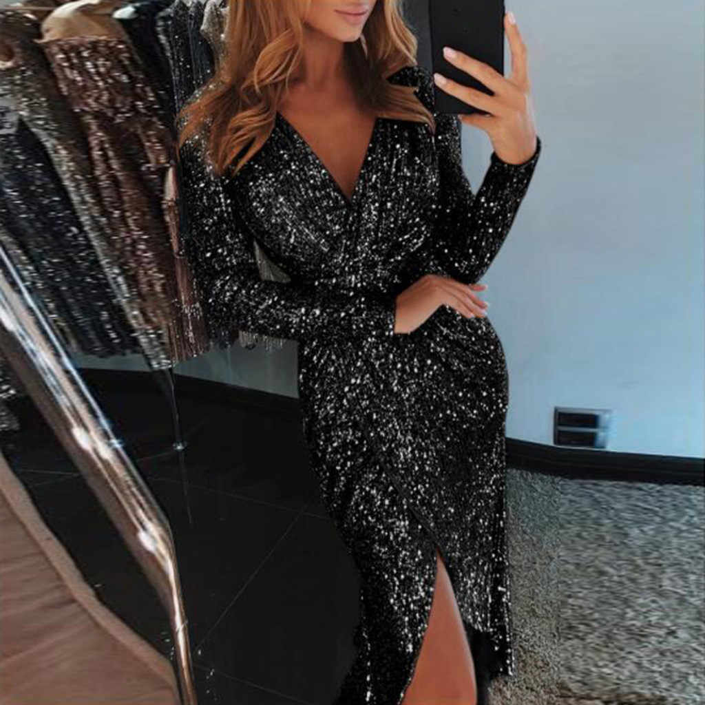 af5521d71b 2019 spring sexy dress Women Deep V Sequins Wrap Ruched Long Sleeve ...