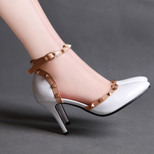 526 big Size 35-43 Neon Pointed toe sexy stiletto High Heels women casade girls shoes Pumps rivert bordered gladiator sandals