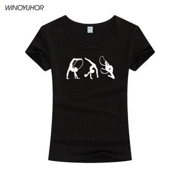 Ropa de moda para mujer, Camiseta con estampado artístico de gimnasia, camiseta de mujer, camiseta de manga corta para mujer, Camiseta de cuello redondo