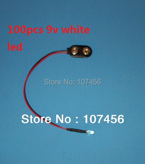 Free Shipping 100pcs White LED Lamp Light Set Pre-Wired 3mm 9V DC  WIRED LED 9 VOLT White WITH SNAP 9V