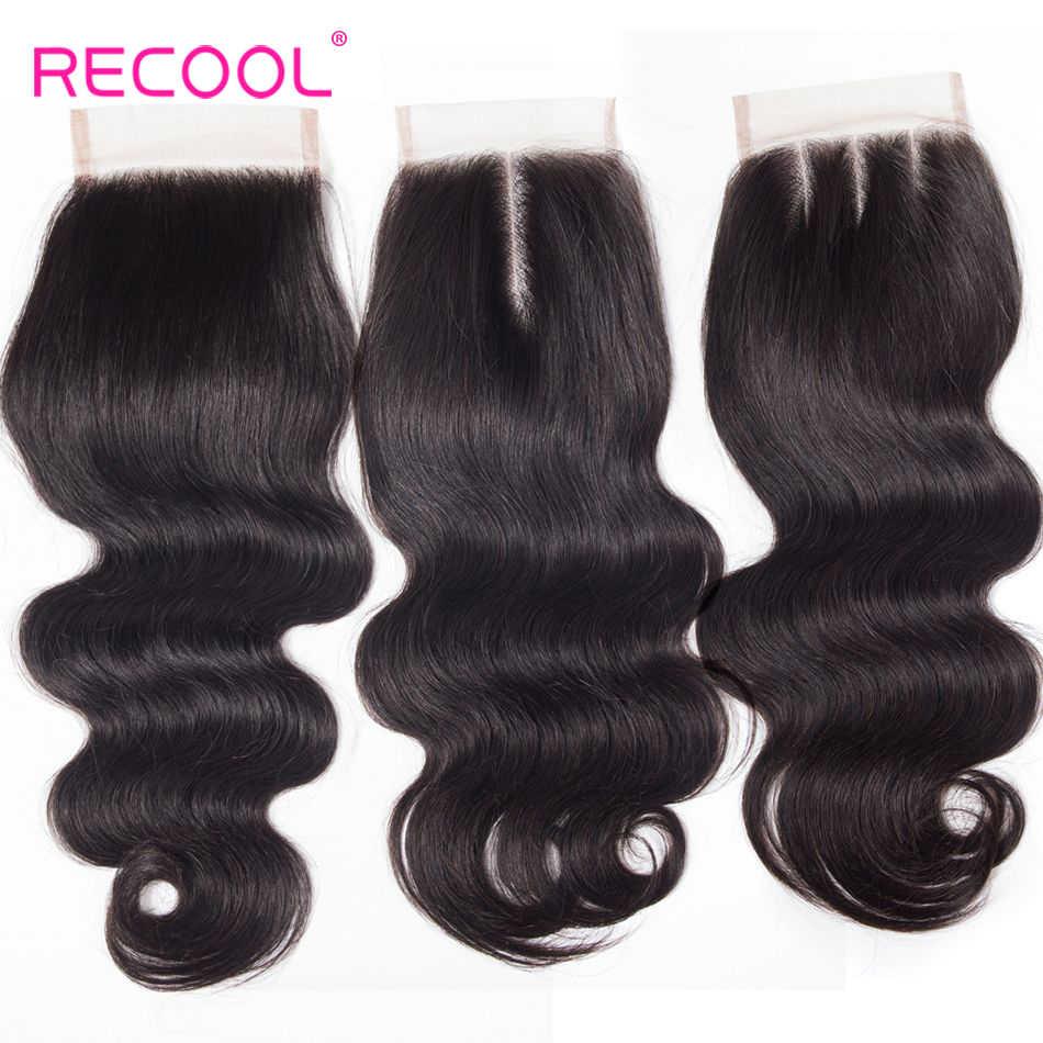 Recool Бразильская волна тела HD прозрачное кружево Закрытие 4x4 дюймов бесплатно/средний/три части швейцарского кружева верхнее закрытие Remy человеческих волос