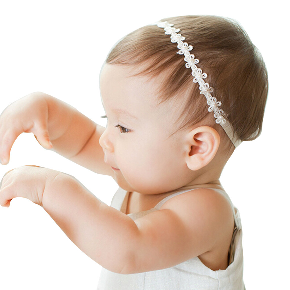 Fashion Baby Girls headband Princess Lace Flowers Diamond Pearl Headbands Elastic Hairbands accesorios para el pelo