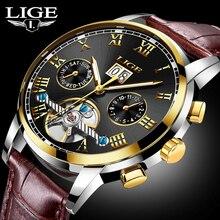Nueva Moda LIGE Marca de Relojes de Lujo de Los Hombres Reloj Mecánico Automático de Los Hombres Deportes Impermeable de Cuero Relojes Relogio masculino