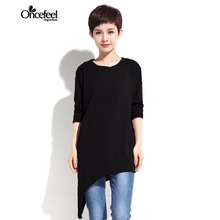 2017 spring high-end ladies's clothes Sweater for girls Minimal spherical necked irregular sweater shirt shirt WXTCWT0054