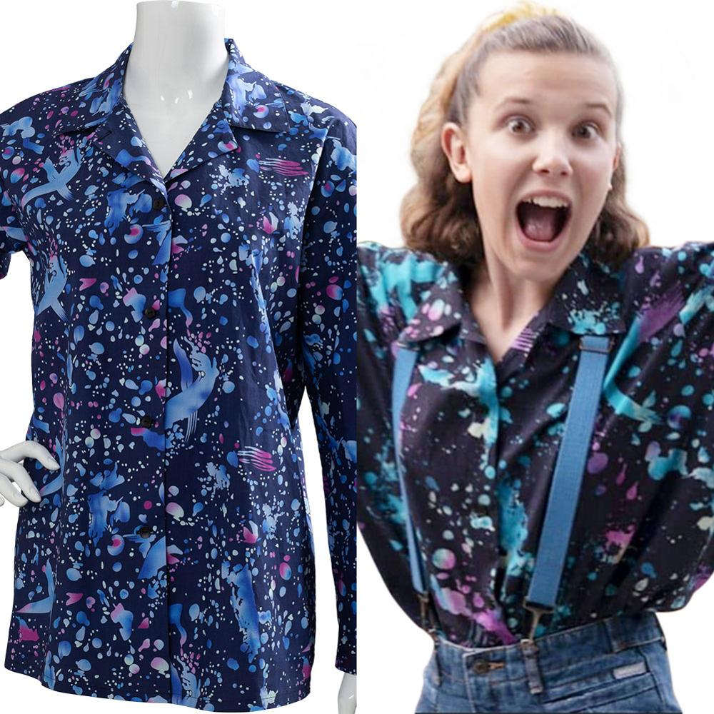 Stranger Things 3 Cosplay Eleven Costume Print Outfit Top Long Sleeve Shirt Adult Girls Halloween Carnival Party Costume Women