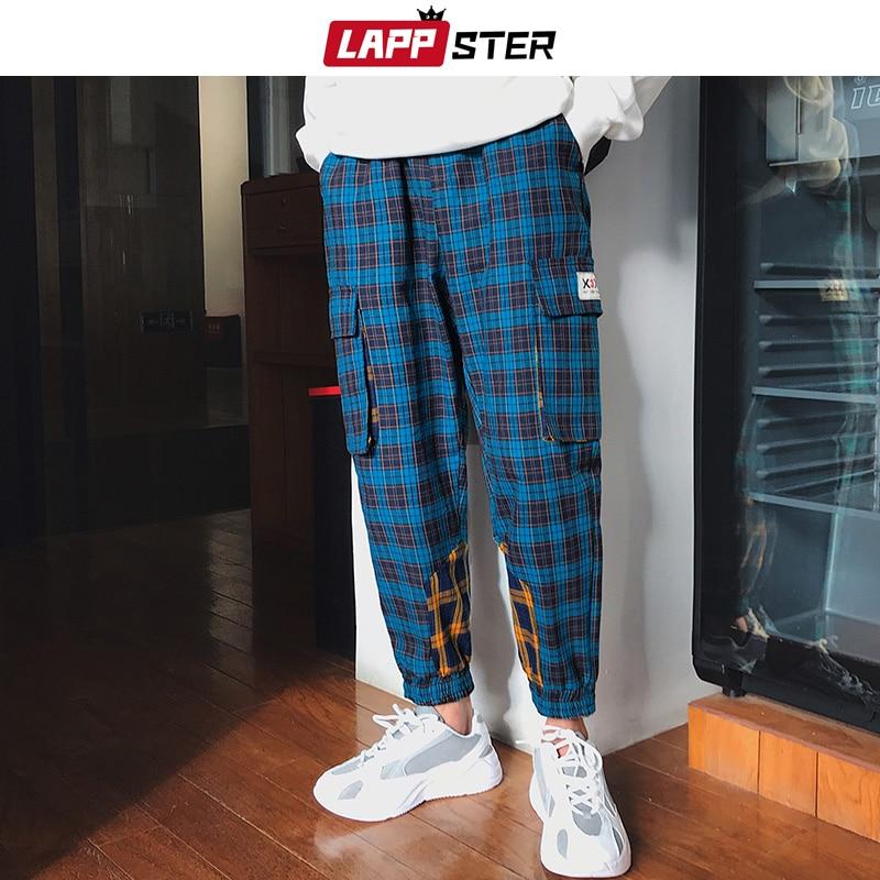 LAPPSTER Streetwear Plaid Pants 2019 Men Color Block Hip Hop Joggers Track Pants Pocket Harem Pants Man Trousers Baggy Pants 5XL