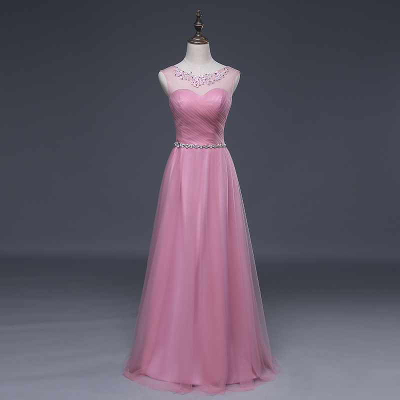 Beauty Long Beading Tulle Bridesmaid Dress