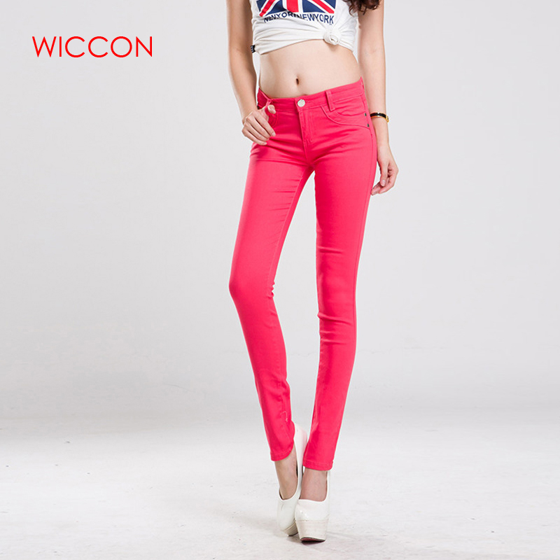 WICCON New 2019 fashion spring autumn women candy colors   jeans   women sweet casual slim straight   jeans   streetwear pencil pants