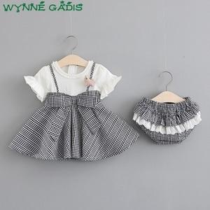 Летнее клетчатое платье с коротким рукавом и бантом для маленькой девочки, платье-пачка в складку + шорты