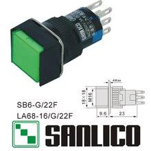 Interruptor de botão de pressão de cabeça quadrada xb6eca31p xb6eca41p la68 las1 lay16 xb6g/22f retorno momentâneo da mola 16mm