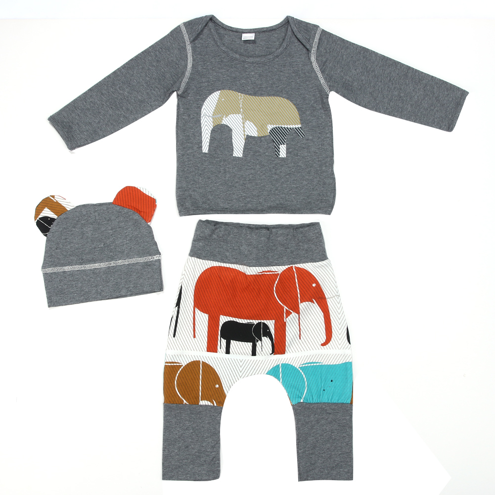 Baby Clothes Toddler Kids Elephant Pattern Hoodie Tops + Long Pants +Hat Outfits Baby Boys Girls Cotton Clothing