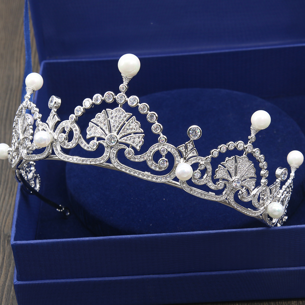 New Full Cubic Zirconia Micro Inlays CZ Zircon Princess Prom Crown Coronet Brides Wedding Tiaras Bridal Hair Jewelry Accessories