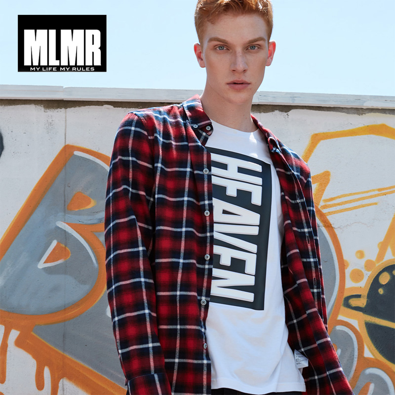MLMR 2019 Men Shirts Casual Slim Plaid Shirt Trendy Long-sleeved Shirt For Men|217305524