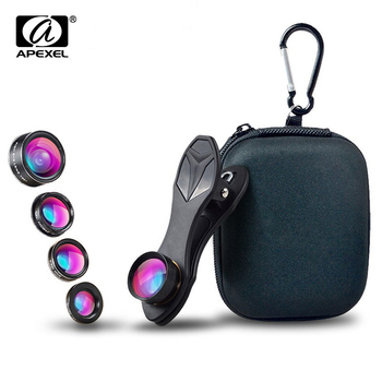 APEXEL Universal Clip 5 in 1 Fish eye Lens Wide Angle Macro 2X Teleconverter CPL Mobile Phone Lens For iPhone 6s 7 6plus Sams s8