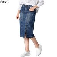 LXUNYI High Waist Jeans Skirt Women Autumn Hot Sale Pencil Denim Skirt Plus Size Korean Split