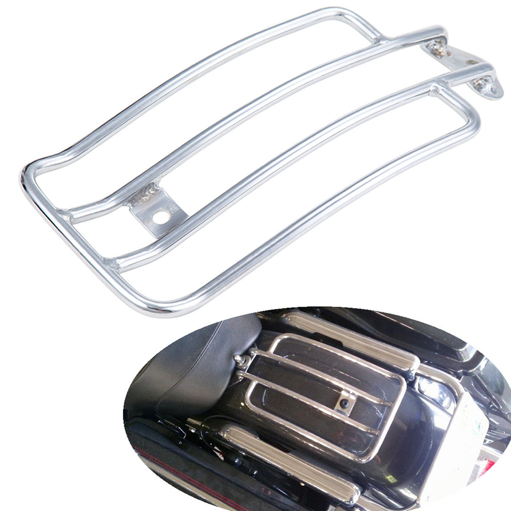 For Harley 1985-2003 2000 2001 2002 XL Sportster 883 1200 Chrome Solo Seat Rear Fender Luggage Rack Support Shelf XL883 XL1200 universal black synthetic leather rear rivet passenger seat for harley sportster xl883 48 1200 2004 2015 c 5