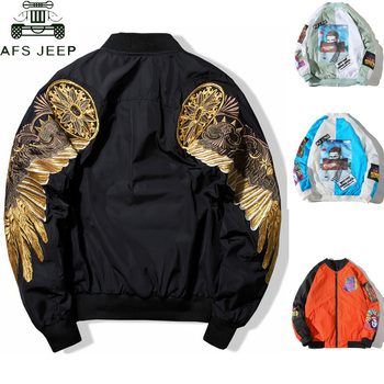 Top Quality Spring Bird Wings Embroidery Baseball Jacket Stand Collar Plus Size 3XL Bomber Coat Chaquetas Hombre DropShipping