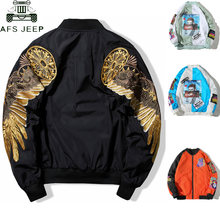 Top Quality Spring Bird Wings Embroidery Baseball Jacket Stand Collar Plus Size 3XL Bomber Coat Chaquetas Hombre DropShipping(China)