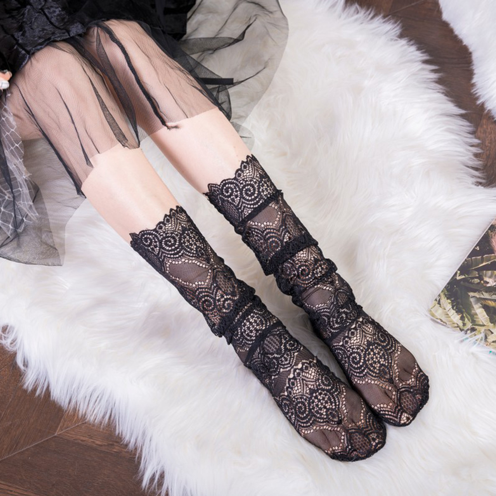 Fashion Women Retro Soft Socks Elastic Sexy Mesh Summer Floral Lace Hollow Out Middle Tube Socks Black/White #137