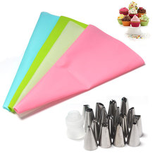 18Pcs/Set Dessert Decorators Silicone Icing Piping Cream Pastry Bag+16Pcs Nozzle+Converter Tips Set Kitchen Accessories
