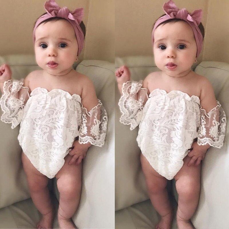 Летние хлопковые Одежда для новорожденных девочек Кружева цветочный короткий рукав 0-24 м белый комбинезон женский пляжный костюм наряды