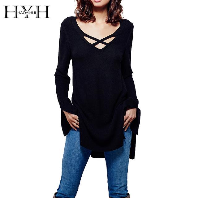 Hyh haoyihui sexy con cuello en v de punto tops sólido delgado dividida negro Mujeres de la Manga larga Pullover Casual Lace up OL Flojo Básico suéter
