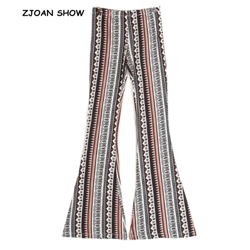 b35b72a6560a2 Ethnic Geometric Print Flare Pants Women Bohemian Tribal African Print Long  Trousers Bell Bottom Leggings Hippie Pants 2 colors-in Pants   Capris from  ...