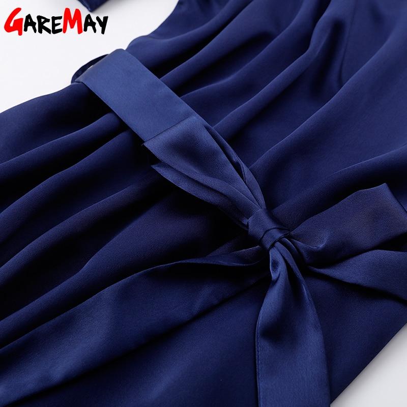 Vestido de satén para mujer Elegante talla grande Vestido azul - Ropa de mujer - foto 5