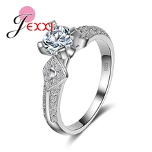 Luxury Europe Stylish Real 925 Sterling Silver Woman Wedding Engagement Rings  Crystal Jewelry For Brides