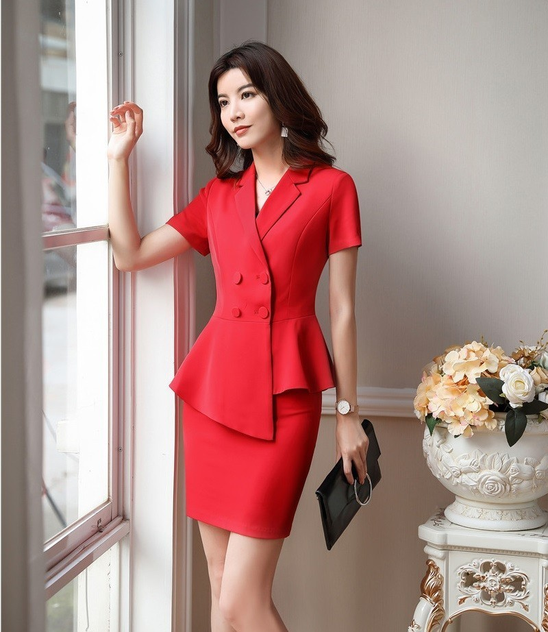 Novelty Red 2019 Summer Formal Business Suits With Tops And Skirt For Ladies Office Work Wear OL Styles Blazers Sets