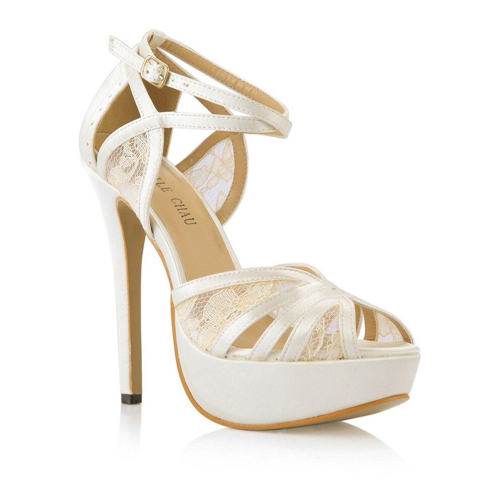 CHMILE CHAU Ivory Satin Elegant Wedding Party Women's Shoes Peep Toe Stiletto Heel Bridal Platform Sandals with Buckle 3463SL-p1