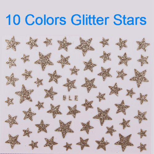 20pcs  Glitter Star Nail Art 3D Stickers Decals Gold Silver Black White Red Purple Pink Green Blue