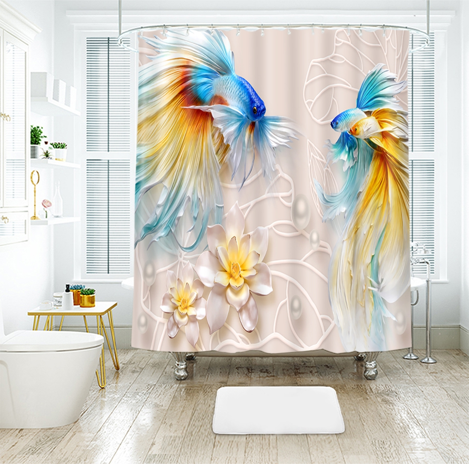 3d Goldfish Flower Relief Pattern Shower Curtains Landscape Bathroom Curtain Thicken Waterproof Thickened Bath Curtain
