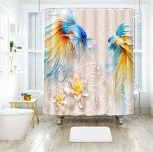 3d Goldfish Flower Relief Pattern Shower Curtains Landscape Bathroom Curtain Thicken Waterproof Thickened Bath