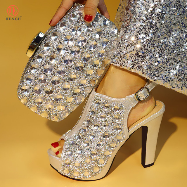 6239b5c1dfd New Arrival Silver Color Italian Shoes with Matching Bags Shoes and Bag Set  African Sets 2018