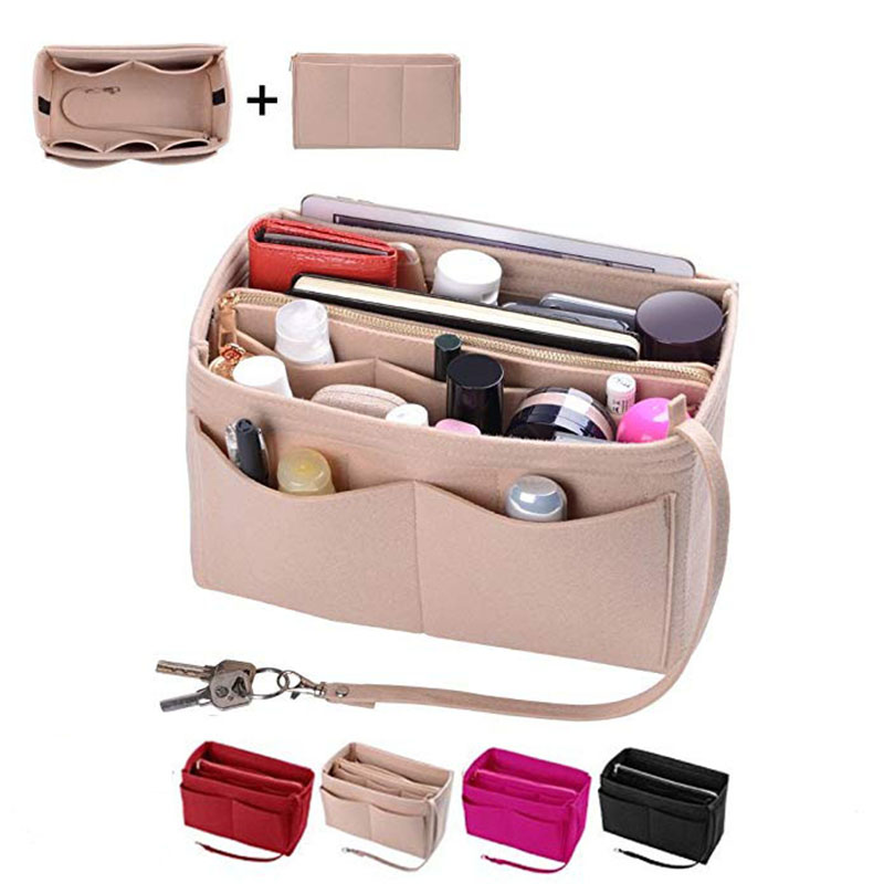 HHYUKIMI Brand Make up Organizer Felt Insert Bag For Handbag Travel Inner Purse Portable Cosmetic Bags Suitable For Neverfull(China)