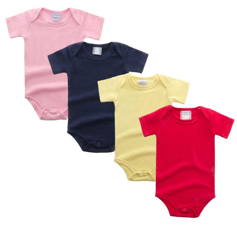 Otroška oblačila za novorojenčke 2018 Otroška obleka za dojenčke oblačila s kratkimi rokavi poletna trdna otroška oblačila za pletenje