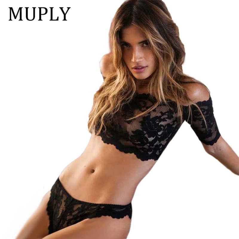a5a35f9858 Sexy Lace Bra Set Women Black Floral Push Up Transparent Bralette Plus Size  Lingerie 2019 Seamless