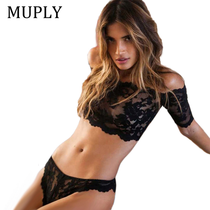 Sexy Lace   Bra     Set   Women Black Floral Push Up Transparent Bralette Plus Size Lingerie 2019 Seamless Underwear   Briefs     Sets   Ladies