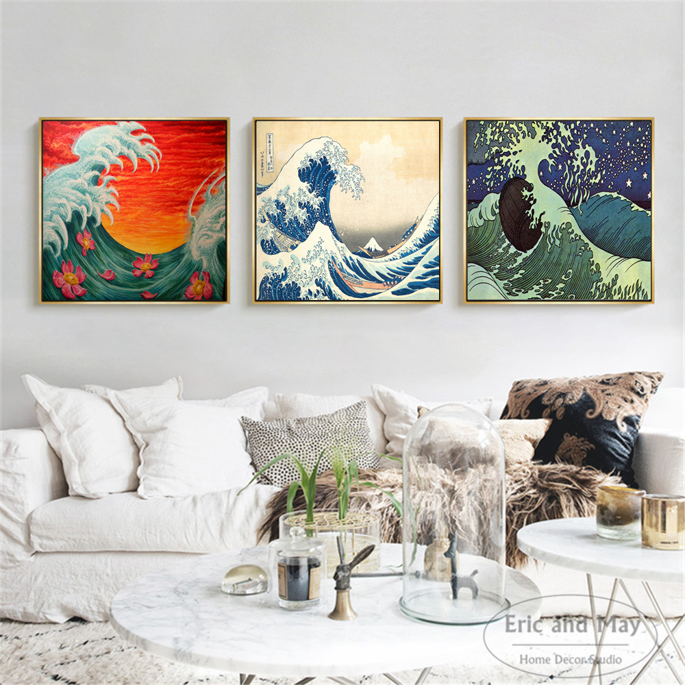3 Pcs Japan Waves Wall Art Canvas Painting Poster Prints Pictures For Living Room Decoration Home Oil Paintings Decor